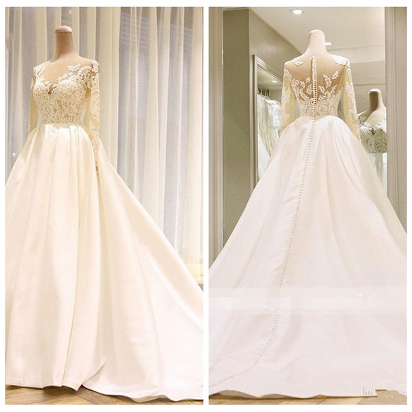 White Satin Long Sleeve Lace A Line Wedding Dresses Bridal Gowns Crystal 2019 vestido De Novia African Wedding Gowns South Africa