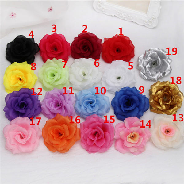 best selling Artificial Rose Flower Heads cloth Decorative Flowers Party Decoration Wedding Wall Flower Bouquet White Artificial Roses Bouquet 8CM