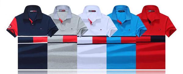 Новые Хлопковые мужские рубашки поло с короткими рукавами Дышащие Летняя мода с отворотом с вышивкой Личность Мужчины Рубашки поло Повседневная сплошная рубашка поло Топы