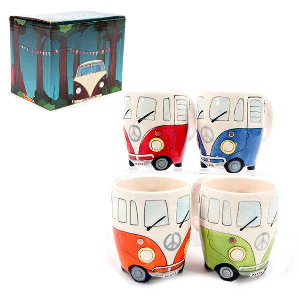 El boyama Seramik Otobüs kupalar Seramik DIY sevimli camper fincan kolu ile 10 oz şarap kupalar Su Bardağı 4 renkler klasik drinkwares