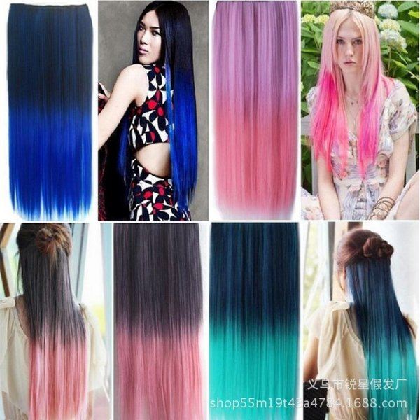 Factory direct fashion new gradient color 5 card one-piece hair piece color straight hair piece wig fast sale