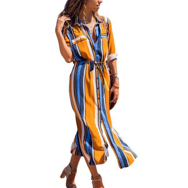 2019 Turn Down Collar Office Ladies Stripe Shirt Dress Long Chiffon Beach Dress Casual Long Sleeve Elegant Party Dress Vestidos T3190604
