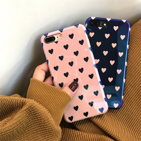 Gorgeous Blue-ray TPU Soft Cover Cases Korean style Love Heart Pattern Phone Case for iPhone 6 6S 7 8 Plus XR XS max