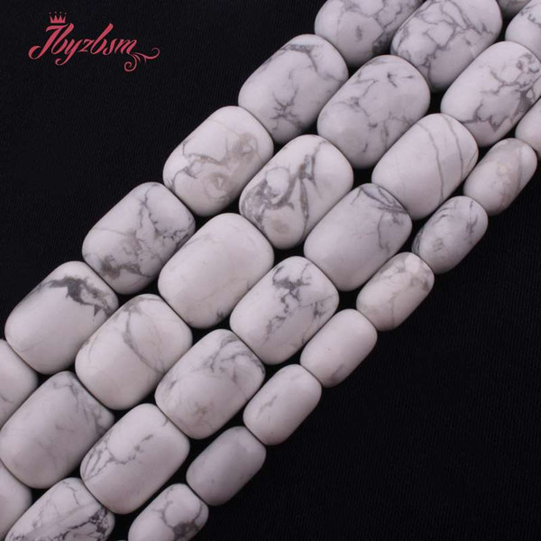 """13x18,12x16,10x14mm Smooth White Column Howlite Beads Natural Stone Beads For DIY Necklace Jewelry Making 15"""" Free Shipping"""