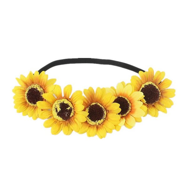 Sunflower Hair Band Chrysanthemum Black Polyester Elastic Headband Daisy Flower Wreath Ins Girl Fashion New Arrival 2 8jl O1