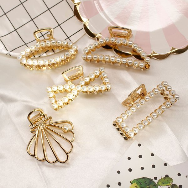 Pearl Rhinestone Small Gripper Hair Claw Clips Crystal Gold Silver Crown Grips Hairpins Bow Hairclips Accessory for Women