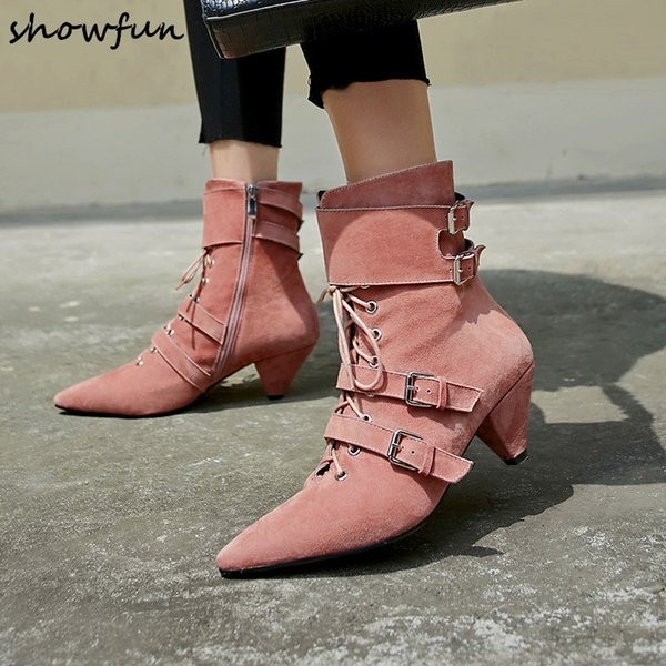 618b22383b96f 3 Color plus size women's genuine suede leather ankle boots kitten heel  pointed toe lace-
