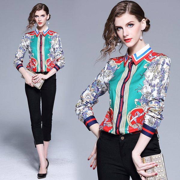 2019 Spring Summer Fall Runway Fashion Floral Print Collar Women Casual Office Button Front Turn Down Neck Long Sleeve Tops Shirts Blouse