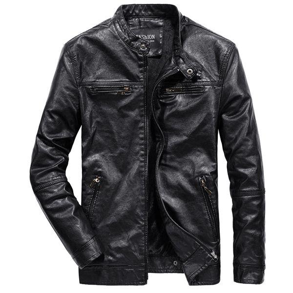 MYAZHOU Men's Korean Version Slim PU Leather Jacket , Plus Velvet Warm Fashion Youth Wild Motorcycle Jacket Men's Clothing