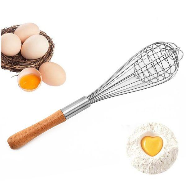 Sıcak satış Ahşap Kol Manuel Yumurta Çırpıcı Paslanmaz çelik El Yumurta Blender Yaratıcı Çok fonksiyonlu yumurta çırpıcı Mutfak Pişirme araçları T9I00285