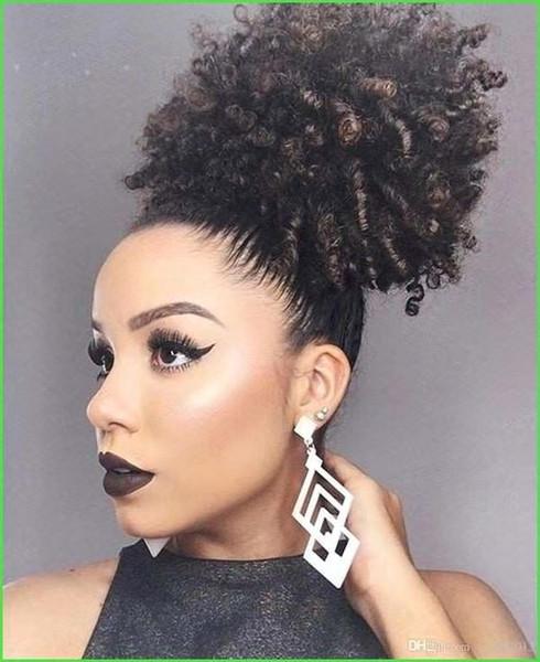 cabello natural afro rizada rizada cola de caballo del pelo humano para las mujeres negras de la cutícula alineado extensión virginal Clásica