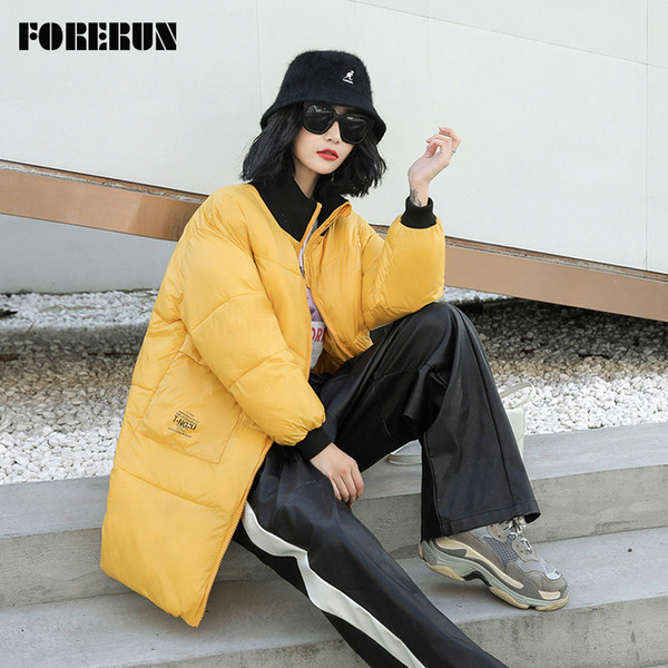 2020 FORERUN Oversized Jacket Women Long Winter Coat Stand Collar Back Letter Bubble Jackets Cotton Padded Parka Manteau Femme Hiver From Piggyy,