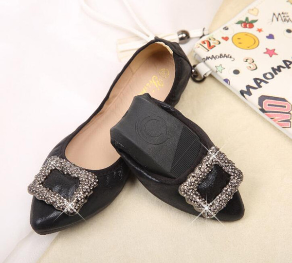 New Fashion Crystal Flats Ballet Floral Flat Shoes Rhinestone Women Designed Girl Flower Pointed Toe Golden princess yoga Shoes Loafers