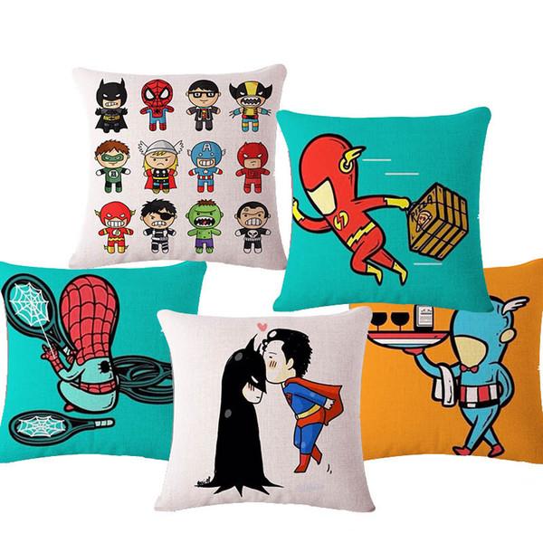 cushion cover custom Fashion Style Cartoon Batman Spidermen Cushion Cover Customized Throw Pillow Home Decorative Square Printing Cojines