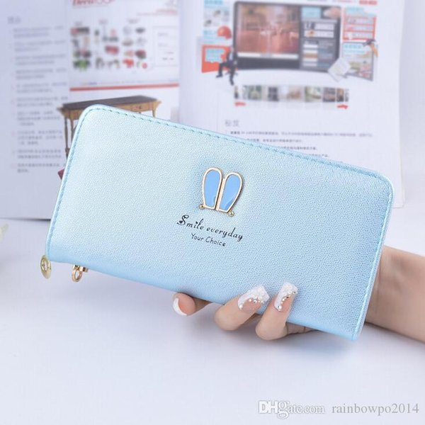 Factory wholesale brand handbag leather wallet Korean large capacity women fashion leather rabbit ears long wallet candy color hand Wallet