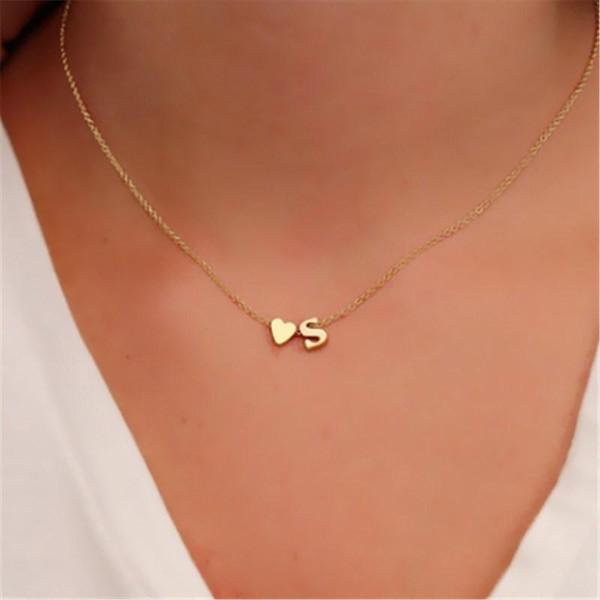 26 lettere piccolo cuore delicato collane iniziali per donna nome oro gioielli moda collane collares collier regalo fidanzata