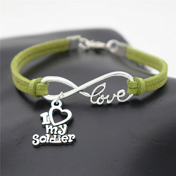 Fashion Infinity Love I Heart My Soldier Pendant Charm Bracelets & Bangles for Women Men Handmade Green Leather Suede Rope Cuff Jewelry Gift