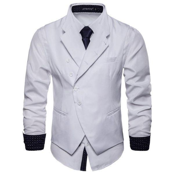 Commercio estero Ouma 2018 Autunno nuovo stile tinta unita abito gilet moda gentiluomo l'abbigliamento britannico da uomo