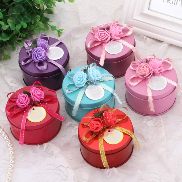 Round Candy Box with Decorative Flower Metal Tin Chocolate Boxes Iron Box for Wedding Sugar WB180