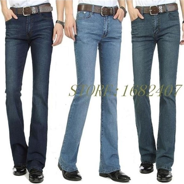 Free Shipping Men's Business Casual Jeans Male Mid Waist Elastic Slim Boot Cut Semi-flared Four Seasons Bell Bottom Jeans 26-38MX190904