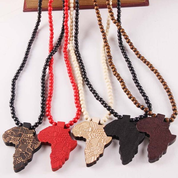 Wooden Map of Africa Pendant Necklaces Wood beads beaded chains For Women & Men Hip Hop Jewelry Gift