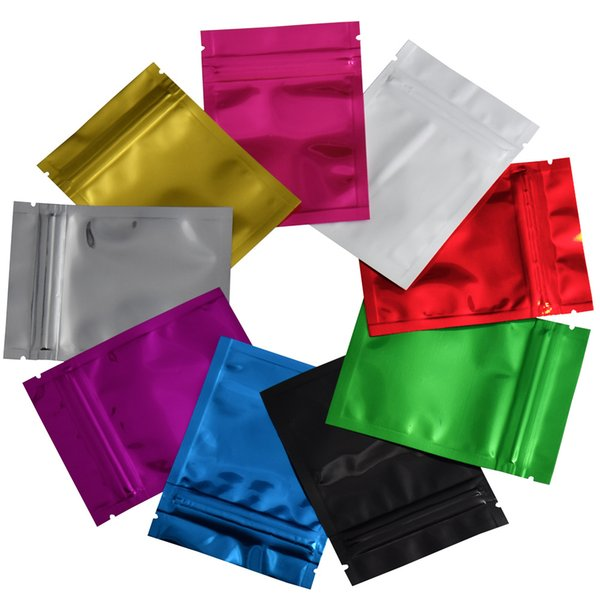 100pcs / lot 7.5x10cm surface brillante multicolore rescellable ziplock feuille de papier d'aluminium sacs d'emballage thermoscellable poche de stockage des aliments sac mylar
