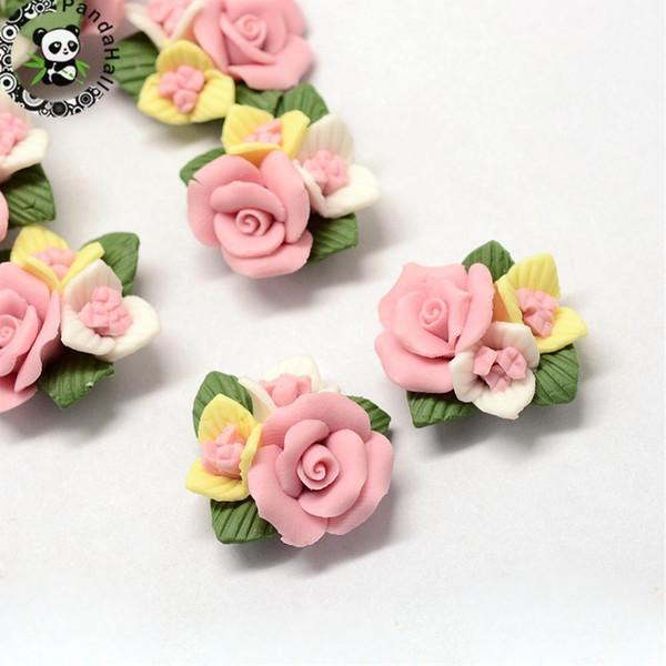 50шт ручной работы фарфоровые кабошоны Китай глина бусины цветок бусины для Diy ювелирных аксессуаров поставляет розовый красный, 21~24x22~23.5x12mm J190618