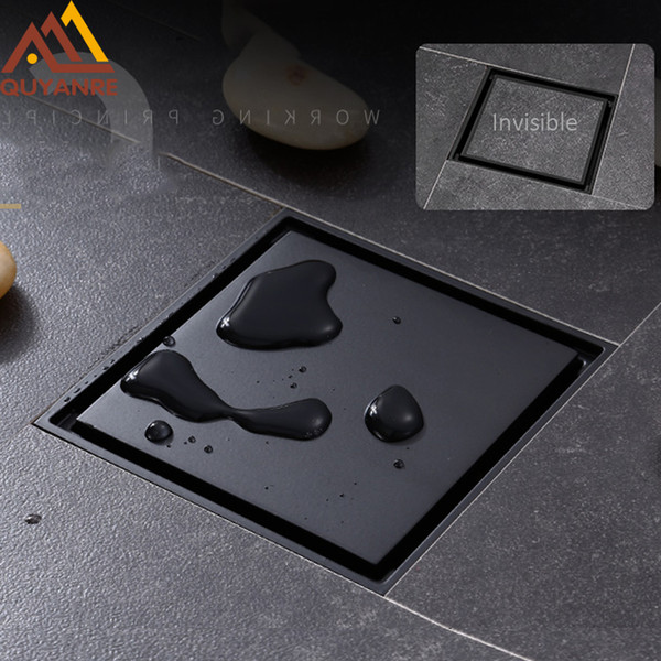 best selling Wholesale And Retail Matte Black Square Invisible Bathroom Floor Drain Waste Grate 10X10cm Shower Drain Black Floor Drain Tile Insert