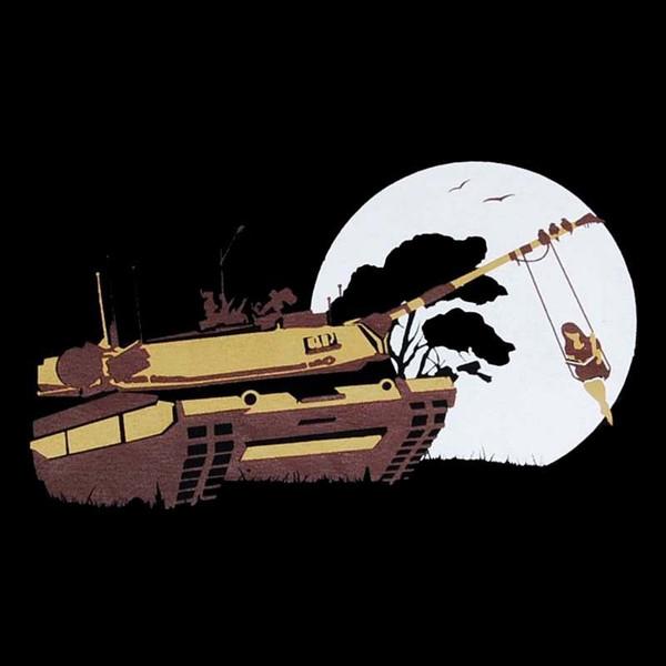 NO WAR liberdade paz tanque Graphic Design T-SHIRT dos homens banksy novidade tee Dos Desenhos Animados t shirt homens Unisex Nova Moda tshirt