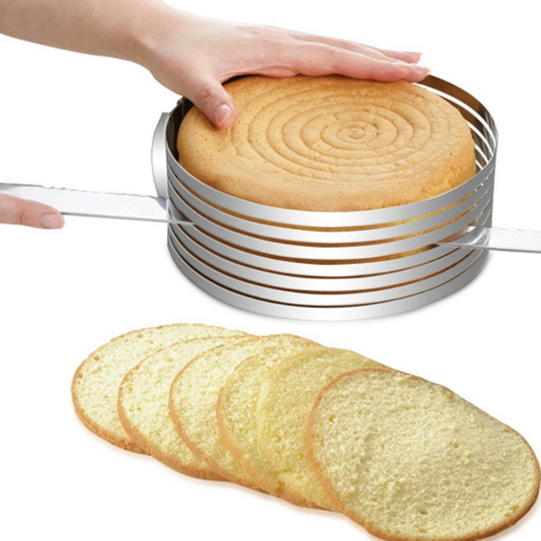 Household Stainless Steel Cake Slicer Mold Adjustable Circular Ring Diy Cake Layered Mould Kitchen Baking Tool