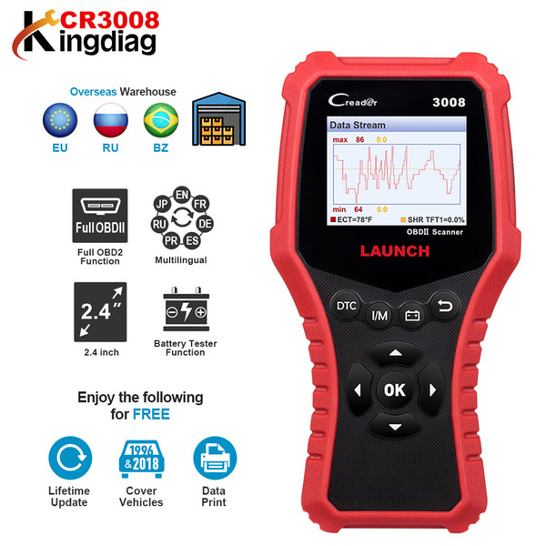 LAUNCH Creader 3008 code reader support full OBDII+Battery tester function CR3008 Scanner obd2 diagnostic tool free update KW850