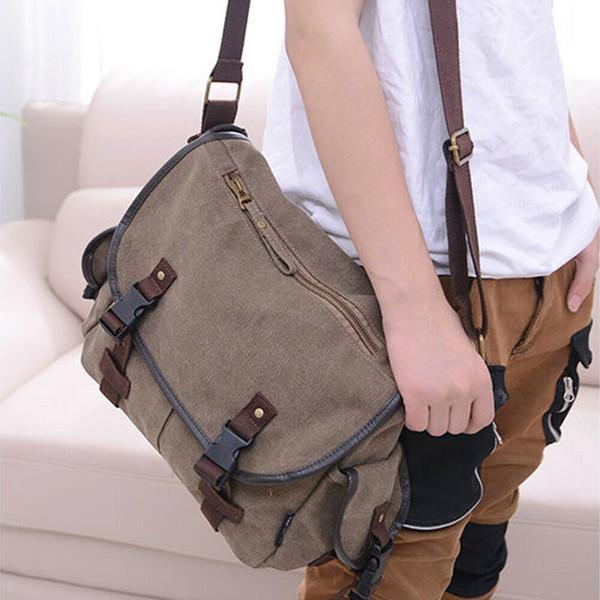 Mochila de lona dos homens novos do vintage mochila ocasional multi-bolso bolsa de ombro mensageiro laptop sacos de viagem saco de caminhadas