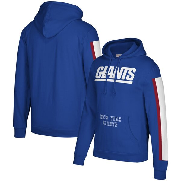 Homens New YorkGiants Mitchell Ness Três Stripe Pullover NFLHoodie - Royal