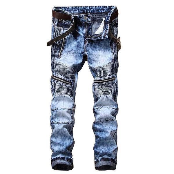Newsosoo Fashion Men's Ripped Pleated Biker Jeans Pants Washed Slim Fit Denim Motorcycle Denim Trousers Straight For Male