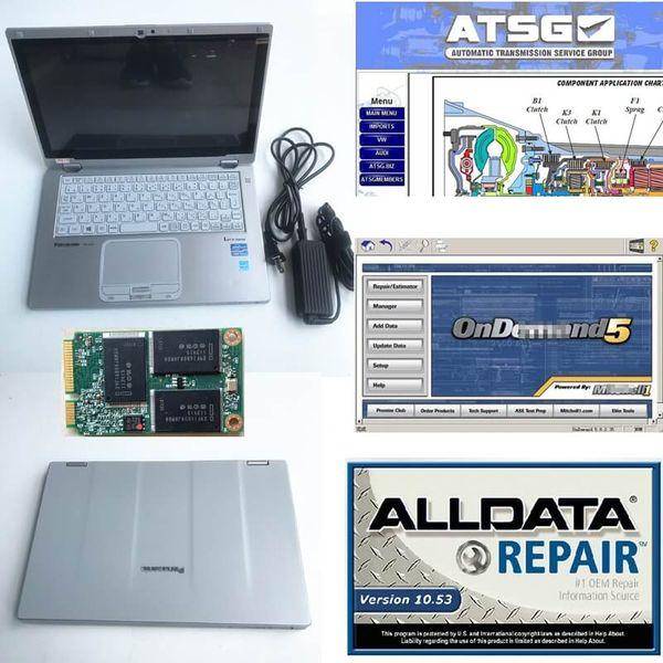 Diag coche escáner portátil con pantalla táctil CF-AX2 I5 Alldata V10.53 + 5 + Mit ATSG 2012 reparación de automóviles suave-ware un coche multimarca