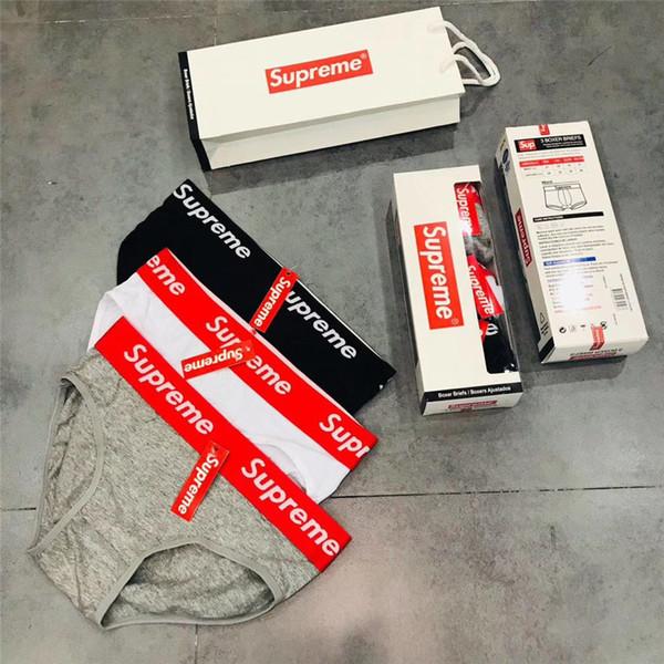 M L Taille Femmes Culottes Lettre Imprimer Coton Briefs Noir Blanc Gris 3PCS Boîte Emballé Populaire Logo Sous-Vêtements Femmes