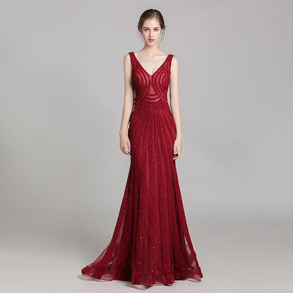 2020 скромный темно-красный V-образный вырез Дизайнерские платья для выпускного вечера Спинки Русалка с блестками из бисера Кристалл с скользящим шлейфом Вечерние вечерние платья