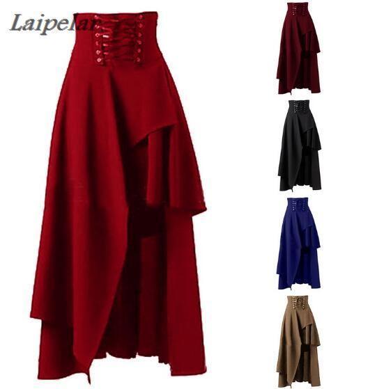 Hot Sale Long Skirt Women Fashion Lolita Strap Black Gothic Skirts Female High Waist Irregular Gothic Steampunk Party Skirts 2XL