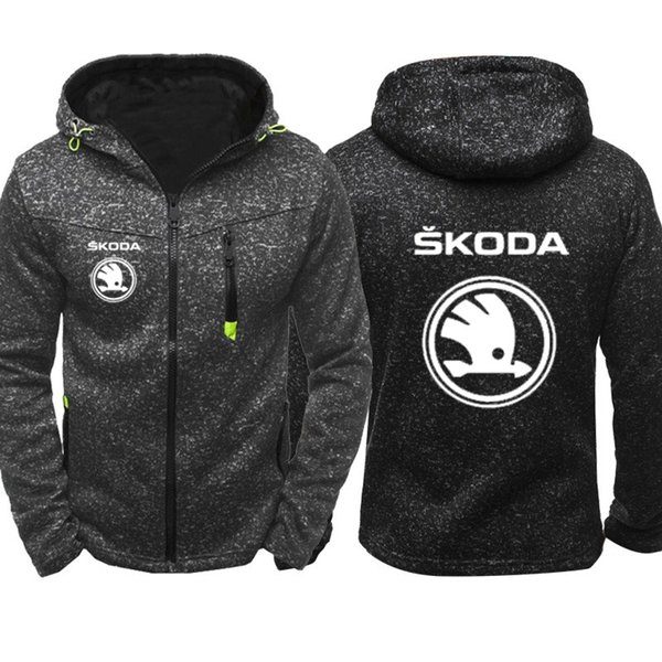 Hoodies Erkekler Skoda Araba Logo Baskı Rahat Hip Hop Harajuku Uzun Kollu Kapşonlu Tişörtü Erkek fermuar Ceket Adam Hoody Giyim