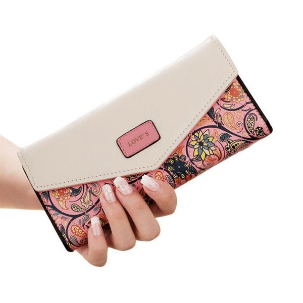 Korean Style Small Wallets Floral Rhombic Contrast Color Envelope Buckle Money Storage Women Hand Bag Lady Flower Print Wallet