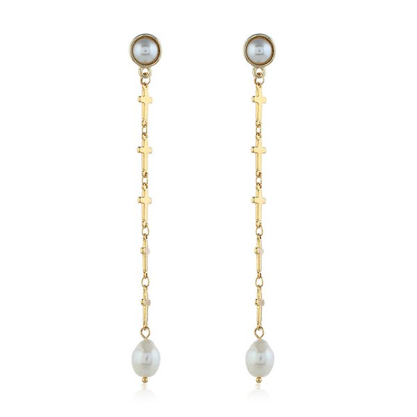 New designer ladies earrings personalized pearl earrings creative cross earrings metal stereo wild white pearl kc gold jewelry accessories