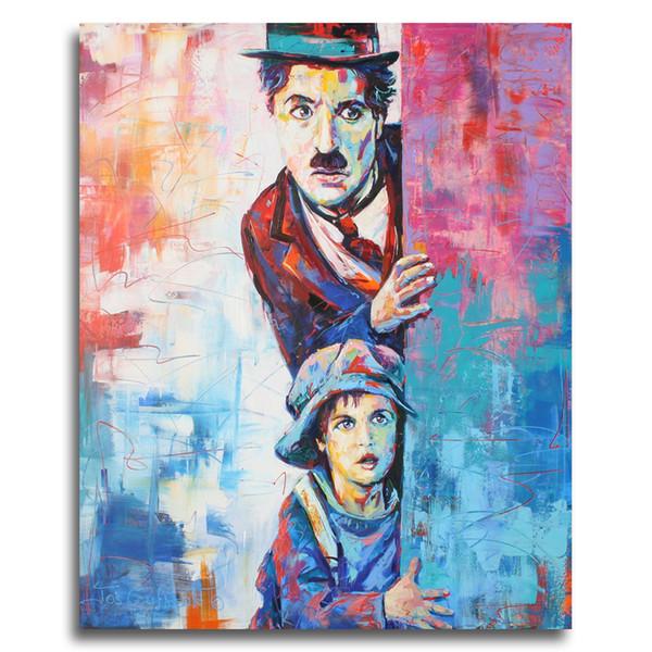 Современная Абстрактная Фигура Холст Чарли Чаплин Поп-Арт Настенные Панно Для Гостиной Home Decor Живопись Граффити Плакат