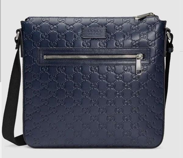 2019 Signature leather messenger 406408 Men Messenger Bags Shoulder Belt Bag Totes Portfolio Briefcases