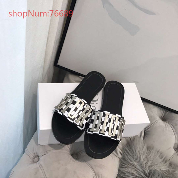 Women sandals low heels chic shoes with metal decoration letters top quality temperament female shoes size 35-39