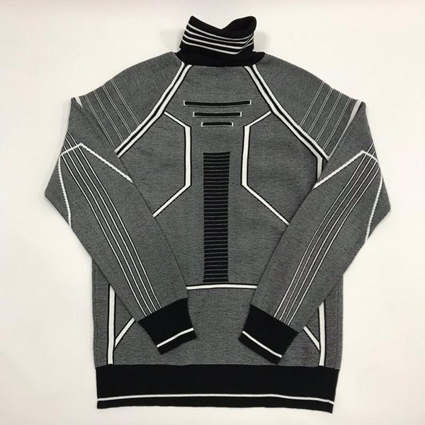 best selling 19SS Swaeter Black and White Line Decoration CD Sweatshirts Fashion Sense of Science Technology Long Sleeve Knitted Sanitary free ship 827