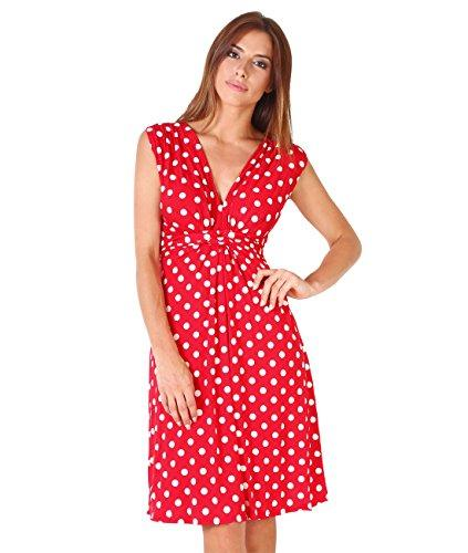 207ad5a8068 KRISP Womens Casual Party Cocktail Polka Dot Knot Front Ruched Waist ...