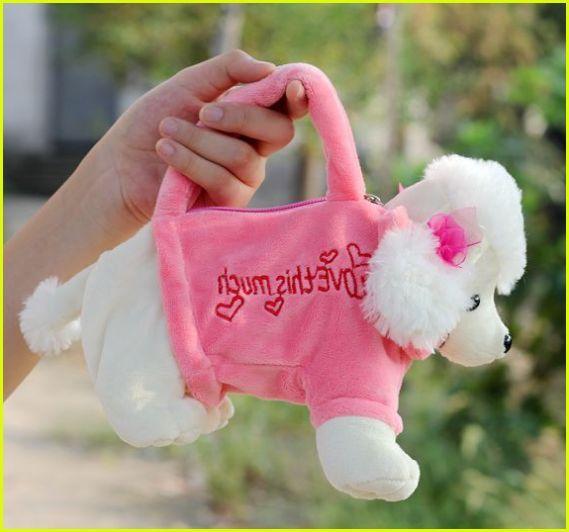 regalo del sacchetto di trucco Carino BearShape Borsa della borsa della peluche per rosa e beige Animale della bambola del fumetto per bambini Cane delle bambole di Shapi