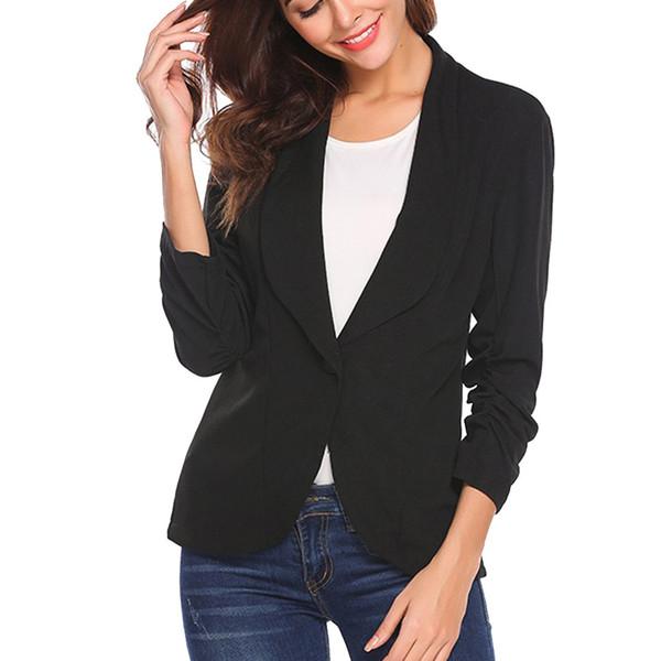Costume de mode femmes blazer veste blazer femme OL style trois quarts manches blaser femeninos élégant mince d90513