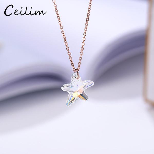 Kadınlar için kristal Cam Denizyıldızı Kolye Kolye Şeffaf Avusturyalı Shining Kristal Yıldız Charm Kolye Jewlery Hediyeler 2019