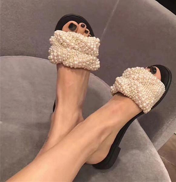 Tatlı Inci Boncuk Terlik Sandalet Kadın Burnu açık İşi Flats Gladyatör Sandalet Kadınlar Moda Rahat Pist Ayakkabı Yaz